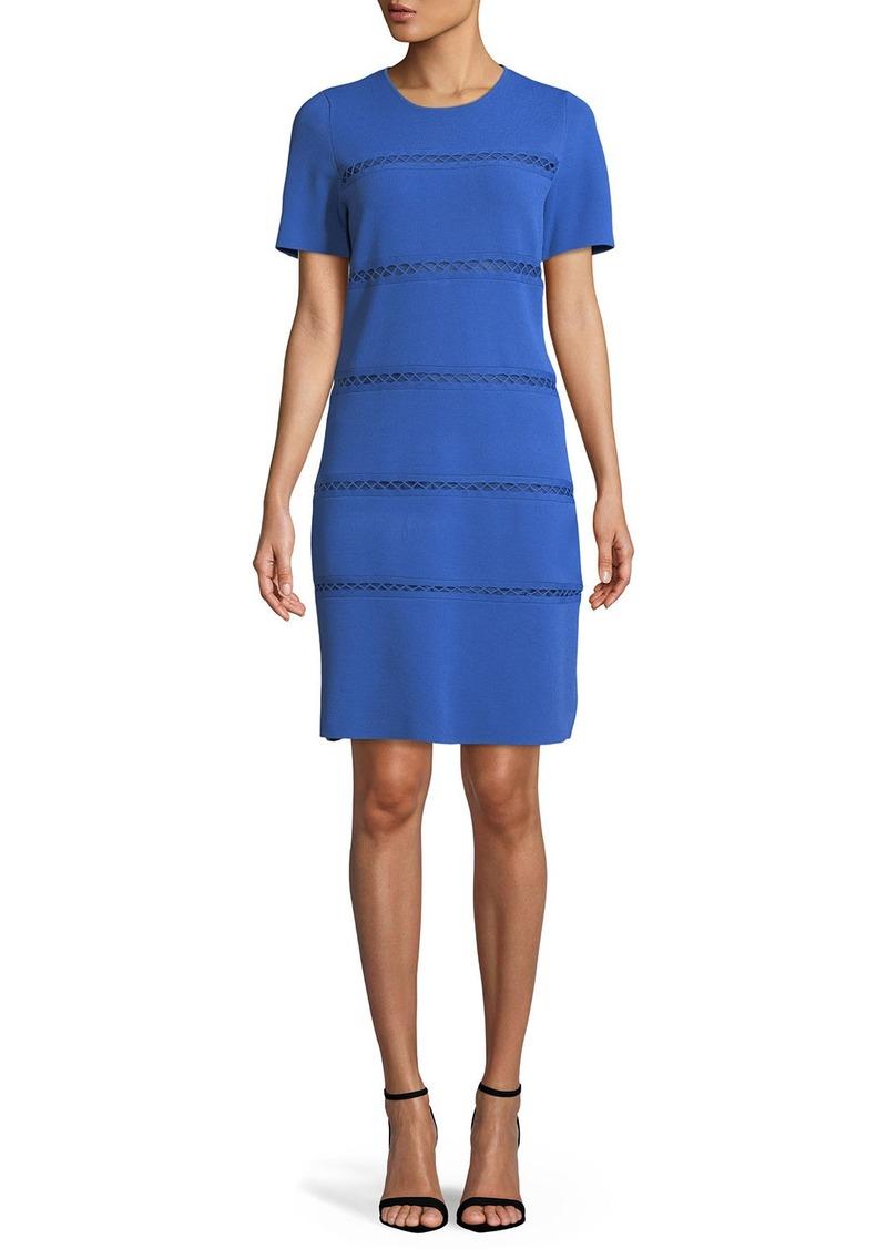 Lela Rose Short-Sleeve Crewneck Sheath Dress with Cross-Stitch Detailing