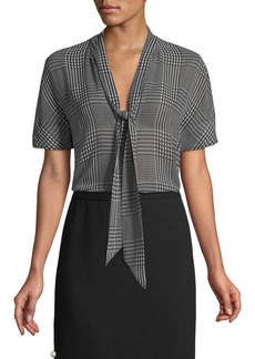 Lela Rose Short-Sleeve Tie-Neck Plaid Chiffon Blouse