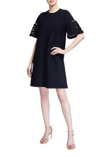 Lela Rose Short-Sleeve Tunic Dress