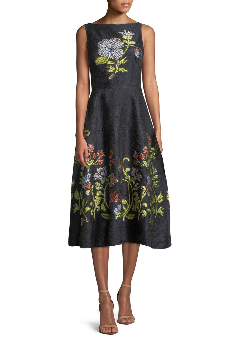 Lela Rose Sleeveless Boat-Neck Floral-Embroidered Jacquard Dress