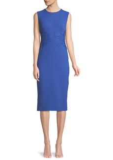 Lela Rose Sleeveless Crewneck Fitted Sheath Dress w/ Lace