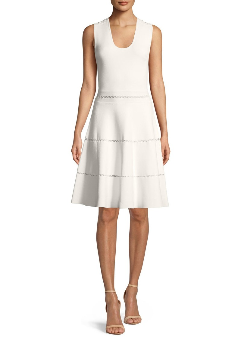 Lela Rose Sleeveless Fit-and-Flare Knit Dress with Cross-stitch Trim