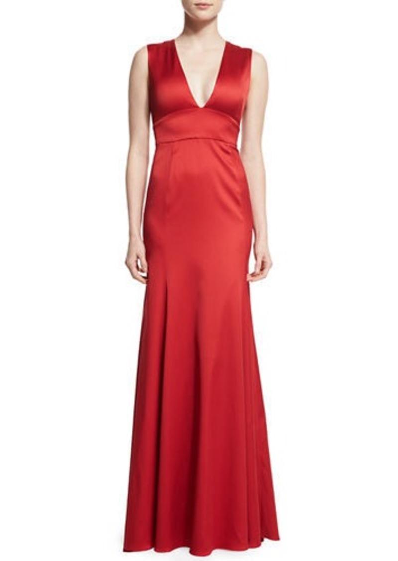 Lela Rose Sleeveless Plunging-Neck Gown