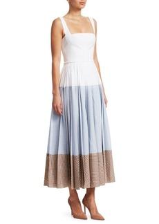 Lela Rose Square Neck Block Gingham Print Dress