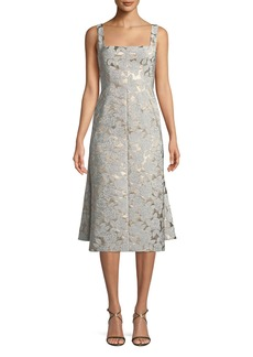 Lela Rose Square-Neck Sleeveless Floral-Jacquard Watteau-Back Midi Dress