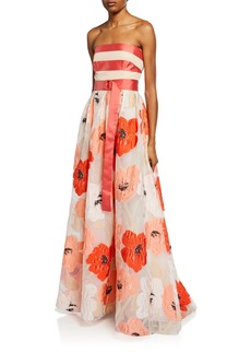Lela Rose Strapless Floral Brocade Full-Skirt Gown