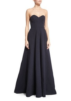Lela Rose Strapless Sweetheart-Neck Gown