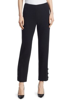 Lela Rose Stretch-Wool Button-Hem Pants
