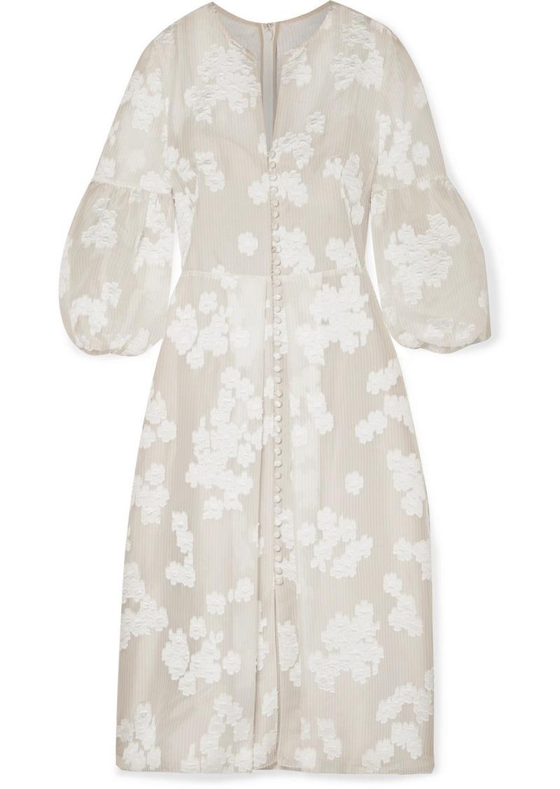 Lela Rose Striped Fil Coupé Silk-blend Organza Midi Dress
