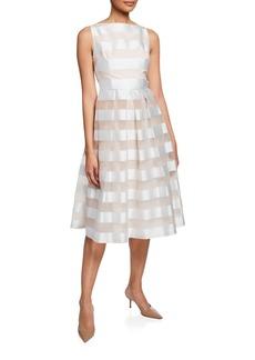 Lela Rose Striped Full Skirt Mid Dress