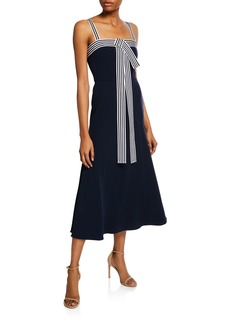 Lela Rose Striped-Trim Tie-Front Dress