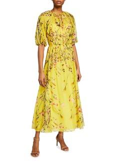Lela Rose Sunflower Printed Voile Midi Cocktail Dress