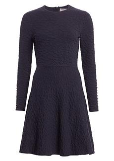 Lela Rose Textured Knit Fit-&-Flare Dress