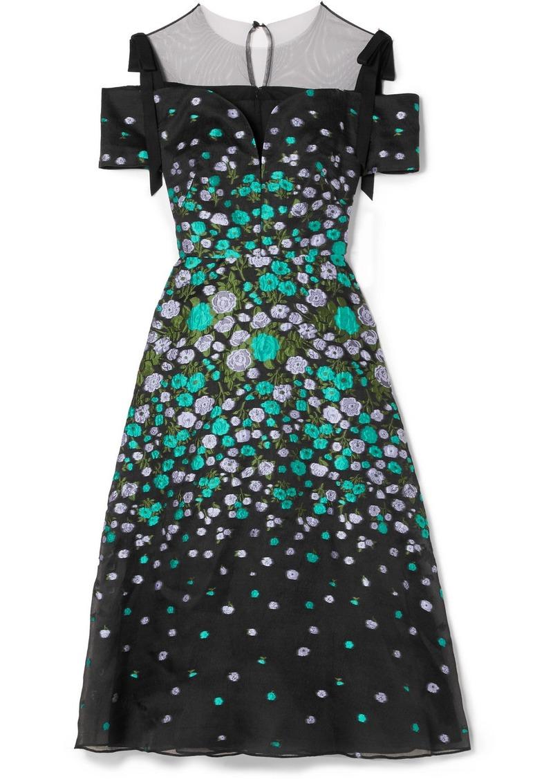 Lela Rose Tulle-trimmed Floral-jacquard Midi Dress