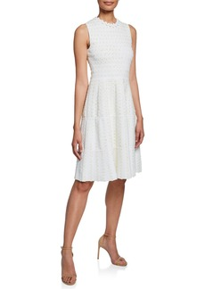Lela Rose Tweed-Striped Sleeveless Tiered Knit Dress