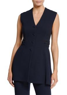 Lela Rose V-Neck Button Front Wool Crepe Vest
