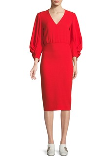 Lela Rose V-Neck Full-Sleeve Fitted Crepe Cocktail Dress