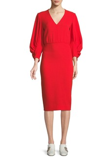 Lela Rose V-Neck Full-Sleeve Fitted Crepe Cocktail Dress