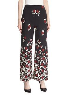 Lela Rose Wide-Leg Degradé Floral Pants