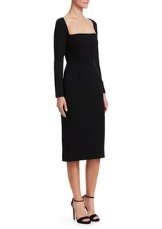 Lela Rose Wool Crepe Fitted Sheath Dress