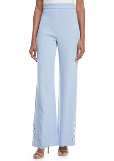 Lela Rose Wool-Crepe Wide-Leg Pants with Buttons
