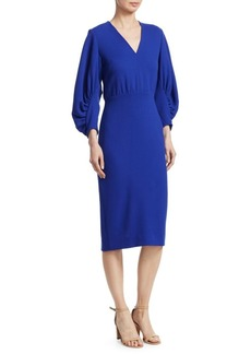 Lela Rose Wool Puff-Sleeve Sheath Dress