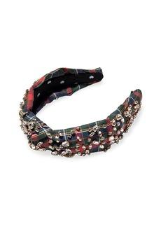 Lele Sadoughi Kid's Jeweled Plaid Knot Headband