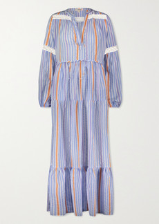 Lemlem Bahiri Crochet-trimmed Striped Linen-blend Maxi Dress