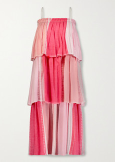Lemlem Eshal Tiered Embroidered Cotton-blend Gauze Maxi Dress