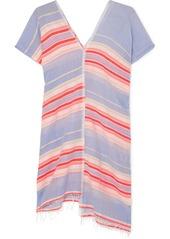 Lemlem Fiesta Asymmetric Striped Frayed Cotton-blend Gauze Tunic
