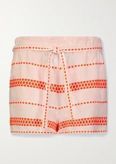 Lemlem Jemari Belted Striped Cotton-blend Gauze Shorts