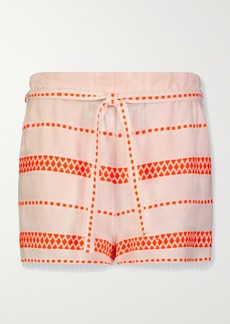 Lemlem Jemari Belted Striped Cotton-blend Gauze Shorts