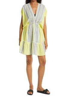 lemlem Amira Plunge Neck Cover-Up Minidress