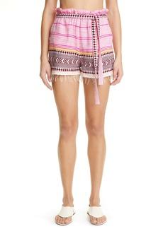 lemlem Neela Paperbag Waist Cotton Blend Shorts