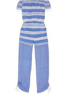 Lemlem Woman Freya Off-the-shoulder Embroidered Cotton-gauze Jumpsuit Blue