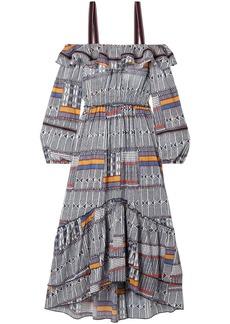 Lemlem Woman Kente Lisa Cold-shoulder Canvas-trimmed Printed Cotton-gauze Midi Dress Navy