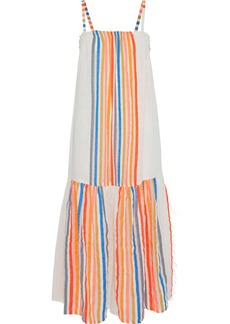 Lemlem Woman Striped Cotton-blend Gauze Midi Dress Orange