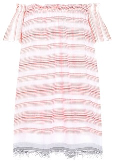 Lemlem Woman Tereza Off-the-shoulder Cotton-blend Jacquard Mini Dress Baby Pink