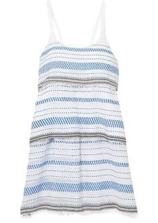 Lemlem Woman Tiki Tiered Embroidered Cotton-blend Gauze Mini Dress Blue