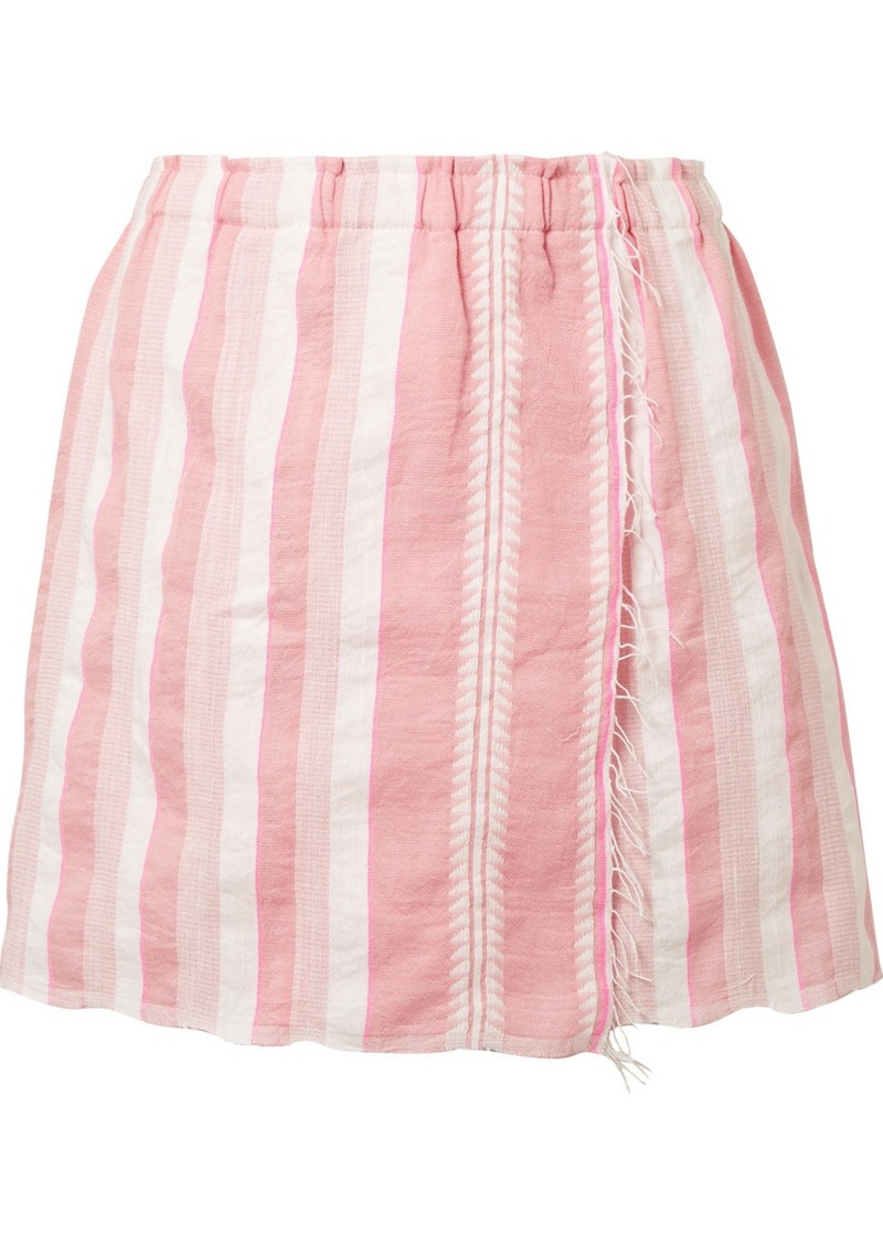 Lemlem Lulu wrap-effect striped cotton-blend gauze mini skirt