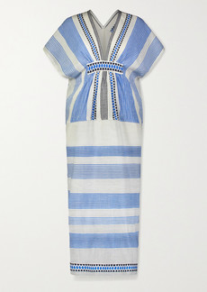 Lemlem Mizan Fringed Jacquard-trimmed Striped Cotton-blend Gauze Midi Dress