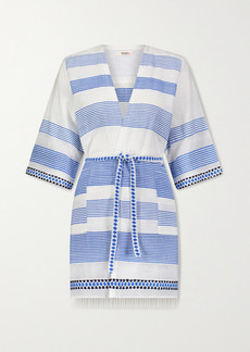 Lemlem Mizan Fringed Jacquard-trimmed Striped Cotton-blend Gauze Robe