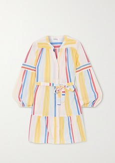Lemlem Net Sustain Jima Belted Tiered Striped Woven Mini Dress
