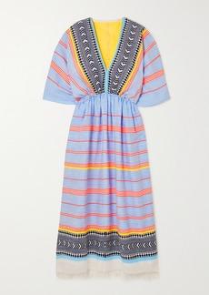 Lemlem Net Sustain Neela Fringed Striped Cotton-blend Gauze Maxi Dress