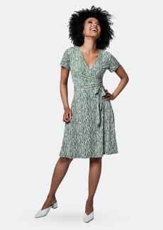 Leota Perfect Wrap Cap Sleeve Dress In Diamond Lines Garden Green - L - Also in: M, XL, S