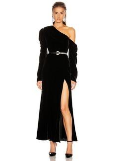 Les Reveries Off Shoulder Puff Sleeve Long Velvet Dress