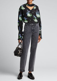 Les Reveries Ruffle Collar Long-Sleeve Floral Top