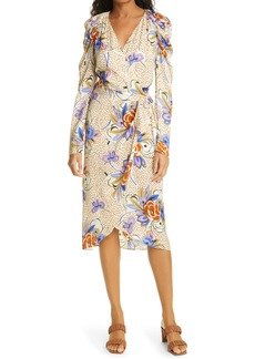 Les Reveries Les Rêveries Floral Dot Long Sleeve Wrap Dress