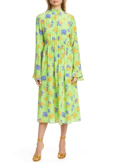 Les Reveries Les Rêveries Ruffle Cuff Floral Silk Long Sleeve Midi Dress