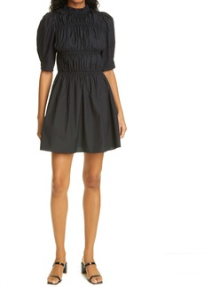 Les Reveries Les Rêveries Smocked Puff Sleeve Cotton Dress